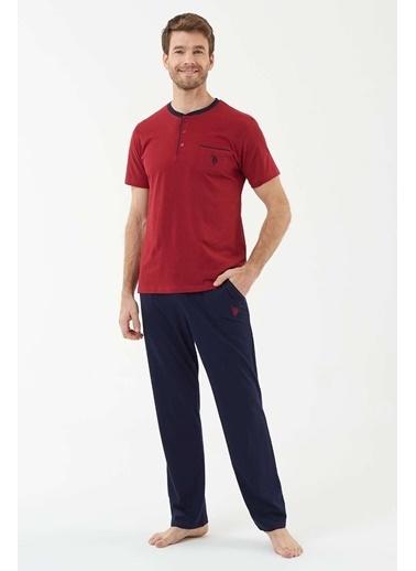 U.S. Polo Assn. Erkek Lacivert Patlı Pijama Takım Bordo